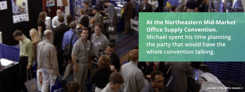 Photo from NBC's The Office showing a business convention