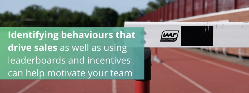 Identifying behaviours that drive sales as well as using leaderboards and incentives can help motivate your team