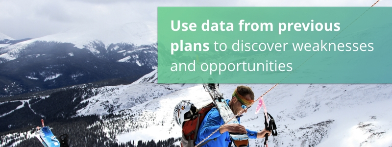 Use data from previous plans to discover weaknesses and opportunities