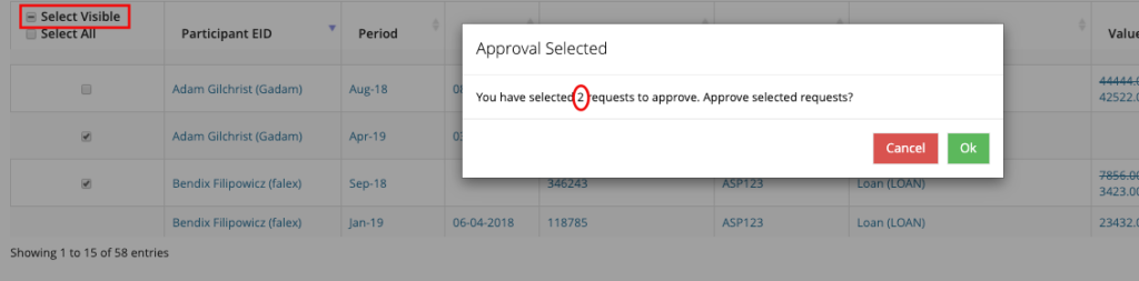 Bulk Approval Select Visible