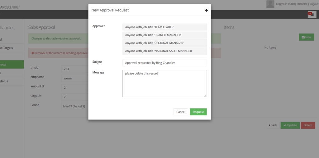 approval in the custom table module records for delete