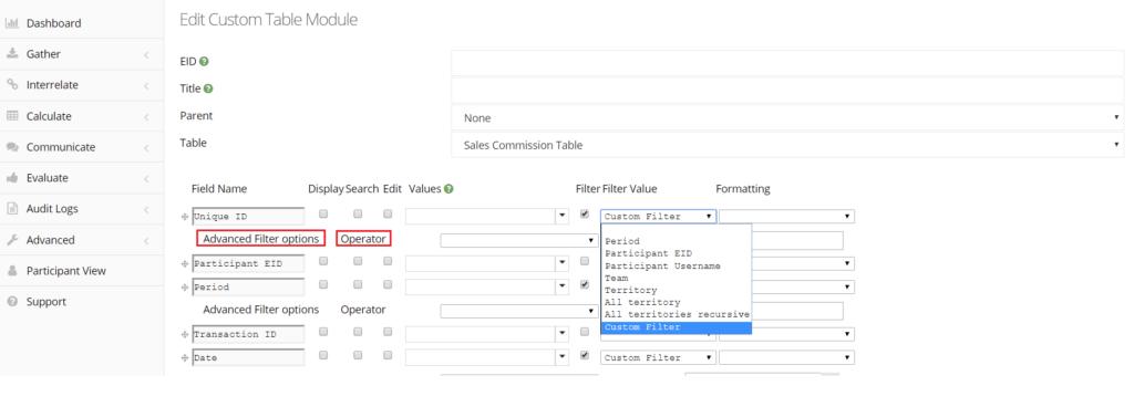 filtering custom table