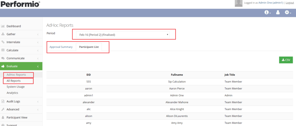 ad hoc admin reports displayed on ui