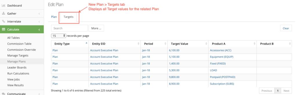 targets tab