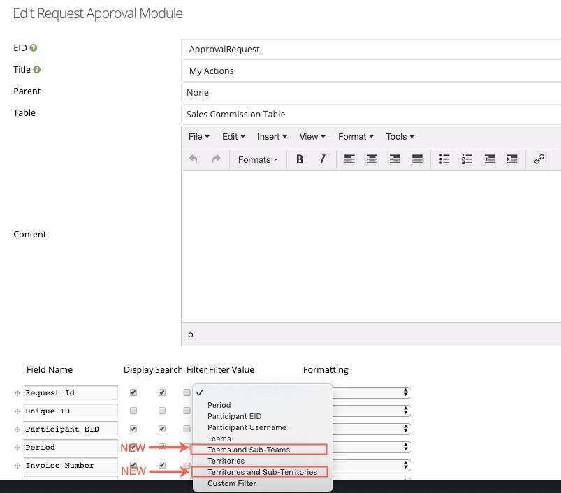 custom table module filters